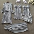 Sexy Silk Sling Nightdress Five-Piece Suit Ladies Nightgown Lace Spring Autumn Thin Shorts Female Pajamas