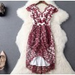 Wine Red Embroidered Gauze High Waist V-neck Irregular Dress Party Dress