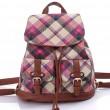 Leisure British Quilted Women Rucksack Lattice Travel Canvas College Backpack