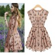 Nice New Pearl Chiffon Elk Pattern Slim Dress