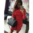Women 's Three - color Hooded Hip long - sleeved Sweater Slim Dress