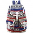 Folk Girls Canvas Geometric Totem Two Pockets Belt Flap Drawstring School Backpack Travel Backpack