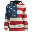 Retro USA Flag Stars Stripe Hooded Jacket Ladies Casual Pullover Sweater