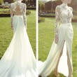 Women's Lace Chiffon Embroidery See Through Look Full-length Slit Evening Dress
