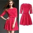 Sweet Slash Neck Bow Hollow Embroidered Solid Gear Lace Dress