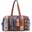 Folk Geometric Patterns Printing Splicing PU Belt Large Canvas Travel HandbagTassel Shoulder Bag
