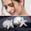 Cute Silver Crystal Diamond-bordered Starfish Amphibious Pearl Women's Earring Studs