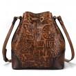 Retro Ancient Script Oracle Embossing Messenger Bag Tassel Cowhide Vintage Shoulder Bag