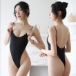 Sexy Backless Silk Tights Thin Transparent Conjoined Women's Lingerie