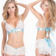 Sexy Uniform Temptation Hollowed-out See Through Backless Sexy Lady's White V-neck Lace Splicing Ribbon Suit Lingerie
