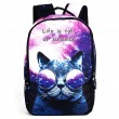 Punk Starry Sky Large Travel Backpack Cute Dog Panda Cat Animals Galaxy Backpack
