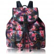 Folk Colorful Flowers Printing Backpack Splicing PU Two Pockets Floral Girl's Canvas Backpack