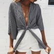 Sexy Girl's Strips Wrap-and-tie Bare-midriff tops Half Sleeves Chest Wrap Shirt