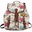 Folk Rose Elephant Stripe Floral College Rucksack Leisure Flower Two Pockets  Backpacks