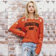 Unique Girl's Irregular Ripped Letter Printing Sweater