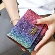 Shining Gradient Rainbow Style Bling Sequin Zipper Wallet Purse Clutch Bag
