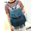 Retro Hollow Flowers Girl's Flannelette Draw String Tassels PU Bucket School Backpack