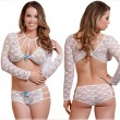 Sexy Hollow Lace Long Sleeve Bow Bra Panty 2 Piece Set High Waist Lady Intimate Lingerie