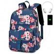 Leisure Flower Print Single Buckle Middle School Bag Large Capacity Waterproof Computer Bag Backpack