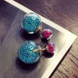 Fashion Wish Ball Spherical Sand Gems Crystal Jewelry Earring Studs
