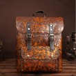 Retro 3D Carved Real Leather Double Buckle Original Brown Large School Backpack