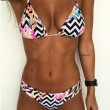 Sexy Women's Stripe Flower Print Bikini Two Pieces Floral Backless Swimsuit