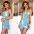 Leisure Sexy Blue Summer Printed Sling Irregular Dress