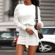 Leisure Pure Color Straps Folds Long Sleeve Autumn Winter Short Dress