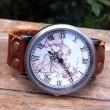 Handmade Retro World Map Leather Watch