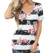 Fashion Cross V Neck Flower Print Casual Women's Summer T-Shirt