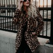 Sexy Lapel Leopard Faux fur Thicken Autumn Winter Women Coat