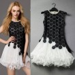Unique Soluble Flowers Splice Rhinestone Decoration  Lace Party Dress &Dress