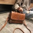 Retro Double Buckle Badge British Style Handbag Shoulder Bag