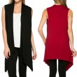 Sleeveless Solid Knit Vest Asymmetrical Hem Cardigan Leisure Female Top