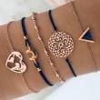 New Triangle Black Turquoise Love Map Moon Strap Five Piece Set Bracelet