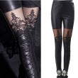 Leatherette Straps Crochet Lace Leggings