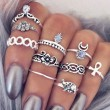 Vintage Silver Plated Elephant Moon Crystal Flower Knuckle 10 Sets Ring