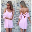 Pink Hollow Trumpet Sleeve Backless Sexy Dress