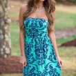 Vintage Floral Print Bodycon Low Cut Strapless Maxi Sexy Dress
