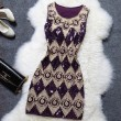 Charm Embroidery Diamond Pattern Flashy Dress