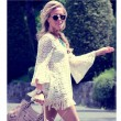 Fresh Trumpet Sleeves Folk Hollow Sunflowers Embroidery Lace Tassels Twinset Dress