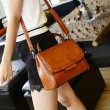 Vintage Pure Color Handbag Messenger Bag Shoulder Bag
