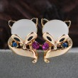 Lovely Fox Animal Opal Studs Earrings Jewelry