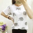 Fresh Hollow Elephant Pattern Loose Round-neck Short-sleeved T-shirt