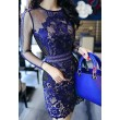 Vintage See Through Bodycon Lace Mesh Crocheted Dress/Party Dress