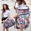 Leisure Drum Outdoor Canvas Rucksack Flower Leaves Multi-function Shoulder Bag Travel Large Backpack
