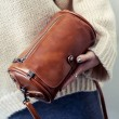 Unique Cylinder PU Rivets Simple School Style Flap Zipper Girl's Shoulder Bag