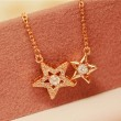 Romantic Double Star Flash Diamond Pendant Clavicle Necklace