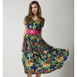 Fashion Petunia V-neck Short-sleeved Chiffon Dress