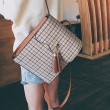 Retro British School Bag Lattice Ruffle Tassel Square Student Backpack